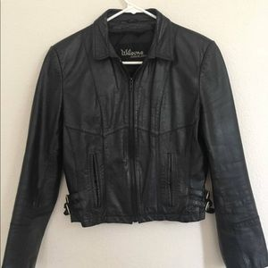 Vintage real black leather jacket cropped buckle